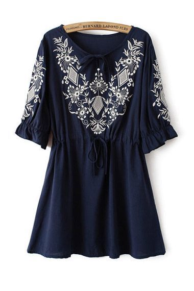 Floral Embroidery Half Sleeve Dress