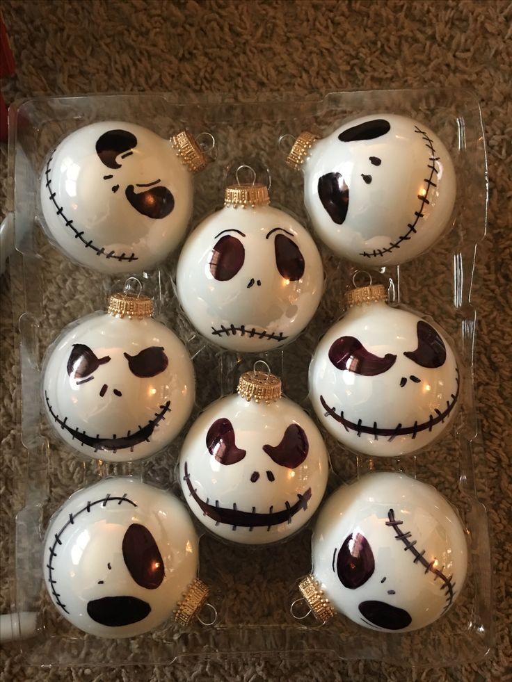 Nightmare before Christmas hand drawn ornaments