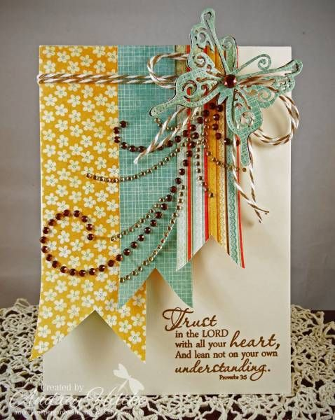 Beautiful Inspirational Card...with banner strips of paper & lacy butterfly...for FS310 Lynn.