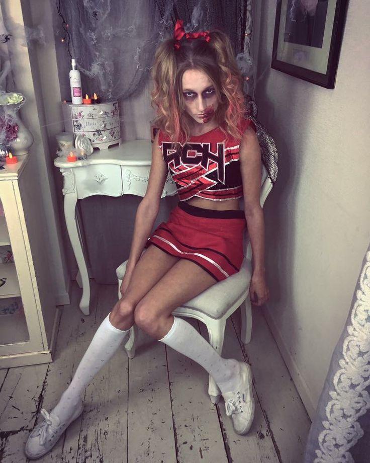 Creepy zombie cheerleader knee high socks special effects makeup photo shoot on location