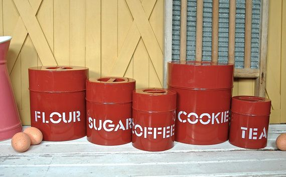 Vintage kitchen tin canister set nesting tins brick red for Retro kitchen set of 6 spice tins