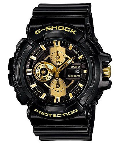 Casio G Shock GAC-100BR-1AER G-Shock Uhr Watch Montre Orologio. Black resin strap Black case Black dial with three subdials with gold tone accents Date window Water resistant 200 FT.