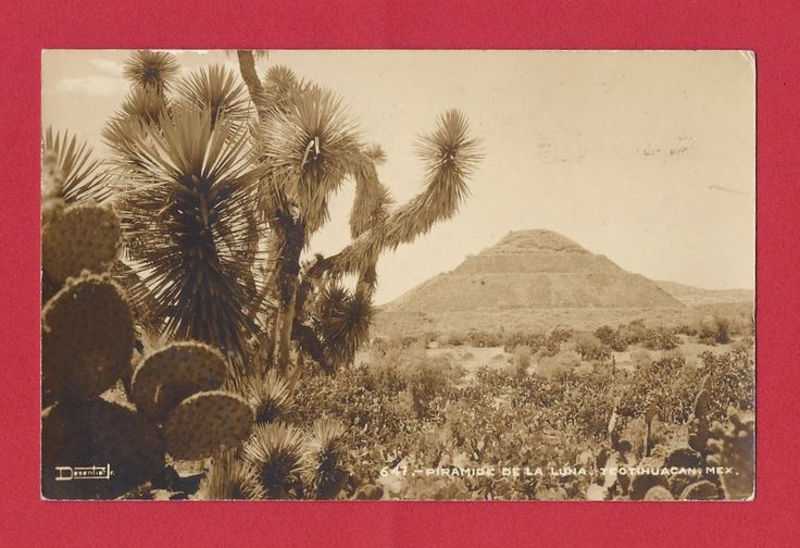 RPPC 1947 TEOTIHUACAN MEXICO PIRAMIDE DE LA LUNA VINTAGE REAL PHOTO POSTCARD