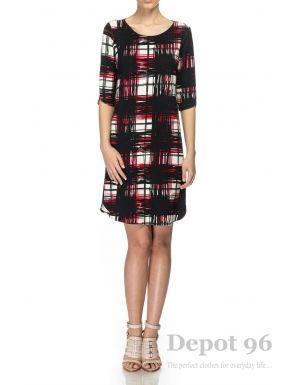Rochie neagra imprimeu, cu spatele gol, Depot 96 - O rochie cu o structura deosebita, avand spatele gol. Este un model ce pune accentul pe feminitate si senzualitate. Este o rochie scurta, cu maneci 3/4 ideala pentru o tinuta casual. - Compozitie: 59% poliester, 39% vascoza, 2% elastan.<br/>Marimi disponibile: S,M,L,XL Colectia Rochii mini de la  www.rochii-ieftine.net