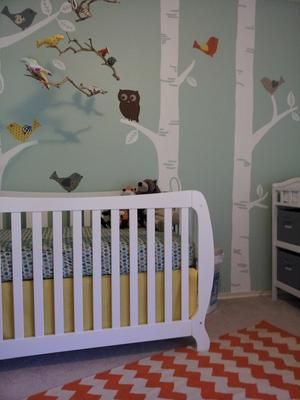 Diy birch tree nursery wall mural hand painted by mom my for Diy birch tree mural