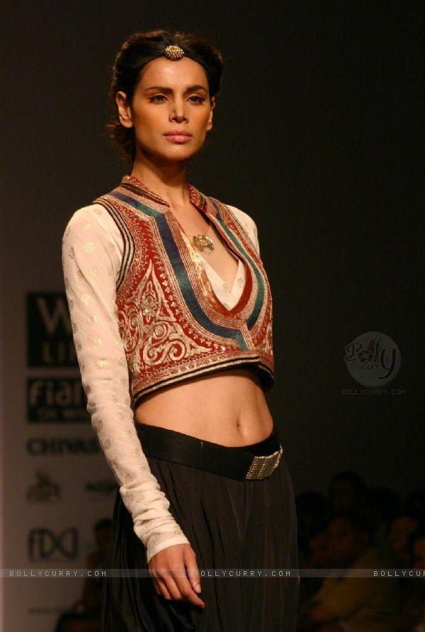 Beautiful Koti Jacket over long sleeved Blouse: http://www.AnjuModi.com/ at Wills Lifestyle India Fashion Week 2011