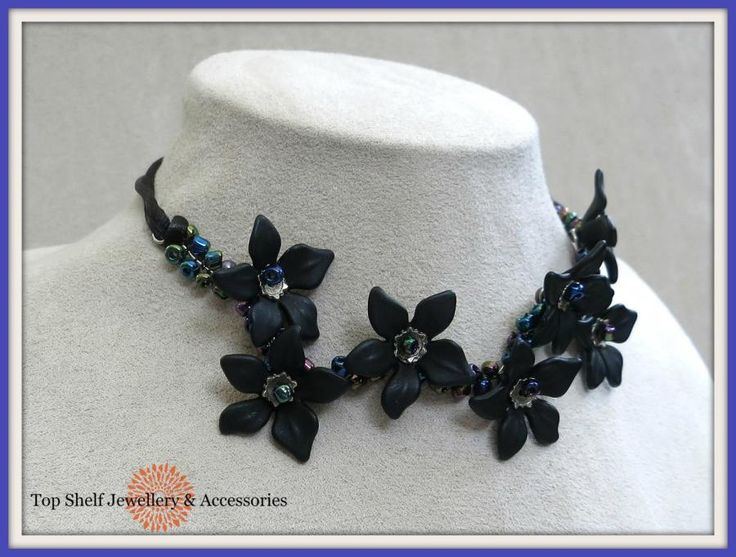 Black Flower Wire Wrapped Choker Necklace by Top Shelf Jewellery & Accessories
