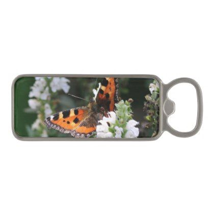 Orange Butterfly on White Flowers Magnetic Bottle Opener - black and white gifts unique special b&w style