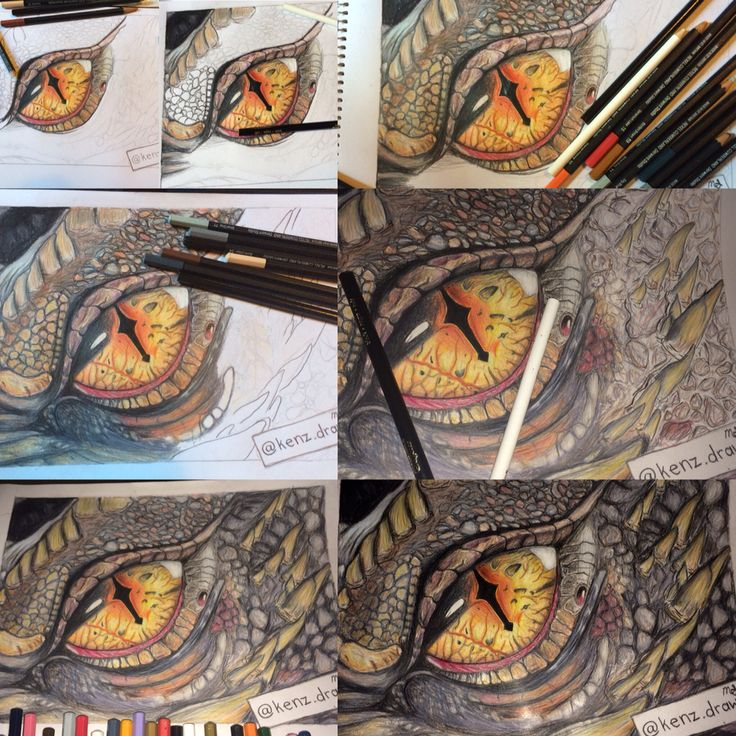 Steps on drawing this realistic dragon eye with coloured pencils!