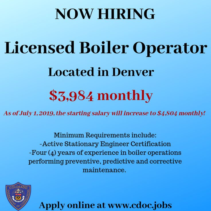 The cdoc is now hiring a licensed boiler operator in