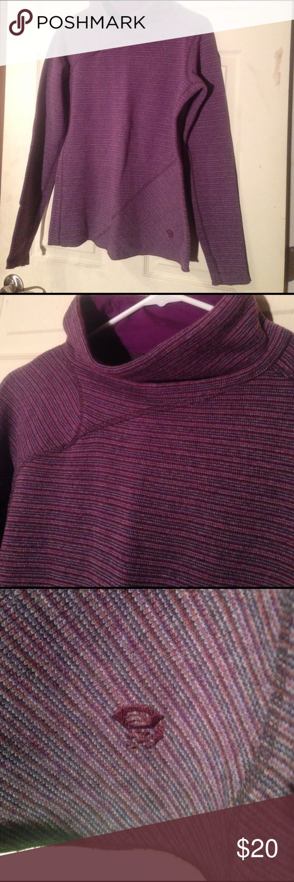 "Medium mountain hardwear sweater shirt NWOT!! Medium purple mountain hard wear sweater shirt. Has a half turtleneck. Holes in sleeves for your thumbs to go through. Warm material but not too hot or thick. 40% polyester, 20% recycled wool, 20% wool, 18% nylon 2% other fibers. 19"" from armpit to bottom hem. 20"" from armpit to armpit. Mountain Hard Wear Tops Tees - Long Sleeve"