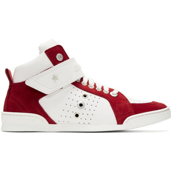 Jimmy Choo White & Red Lewis High-Top Sneakers (2.260 BRL) ❤ liked on Polyvore featuring men's fashion, men's shoes, men's sneakers, white, mens high top sneakers, mens studded sneakers, mens red high top sneakers, jimmy choo mens shoes and mens velcro shoes