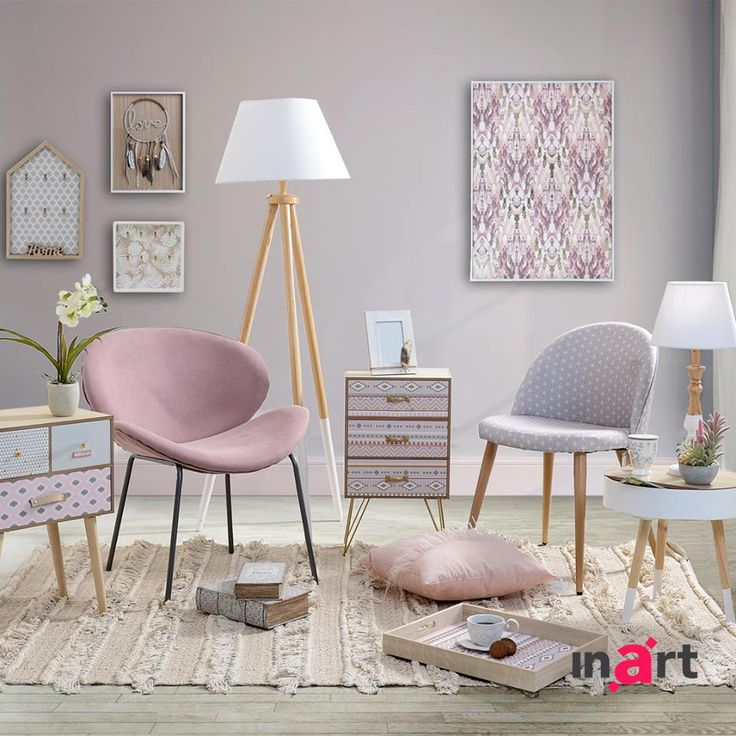 Fresh colour mix! Soft pink and cool gray upgrade your room to a super modern space. Liking it or loving it? It's called #inartLiving Explore more at www.inart.com