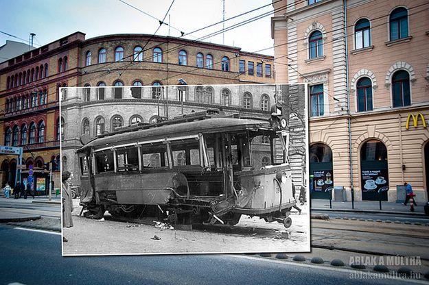 """József körúton a Népszínház utcánál Photography:  Hungarian photographer/artist, Kerényi Zoltán's """"Window to the Past"""".  times: 1956 and 2013.  Location: Biatorbagyi railway via duct."""