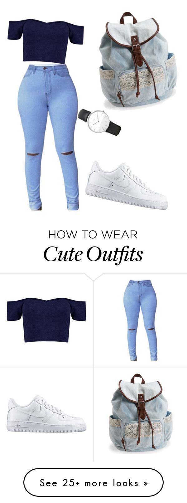 off-the-shoulder-top, gescheurde broek, sneakers, horloge, rugzak