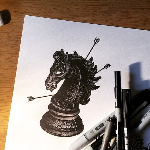 "#chess #piece #horse #morning #drawing #blackworkers #darkartists #hand_job_tattoo #gaelcleinow waiting for your skin @toeloop tattoo //To follow me choose your way •_*  On Tumblr"""""" gael-cleinow-tattoo.tumblr.com/  On Facebook••• https://www.facebook.com/GaelCleinow  On Instagram*** instagram.com/cleinow  (at Toe Loop Tattoo)"