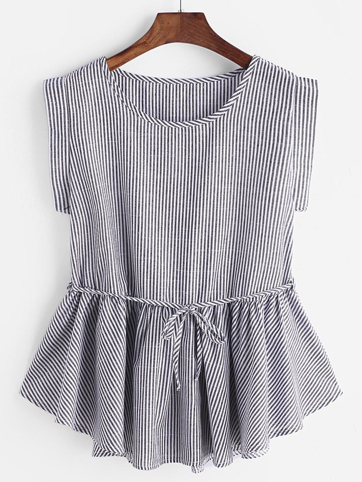 Shop Pinstripes Frill Hem Belt Top  online. SheIn offers Pinstripes Frill Hem Belt Top  & more to fit your fashionable needs.