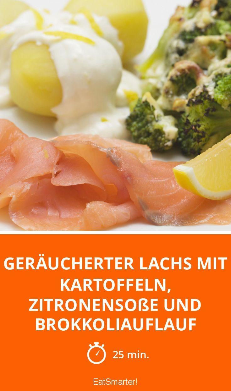 Geräucherter Lachs mit Kartoffeln, Zitronensoße und Brokkoliauflauf - smarter - Zeit: 25 Min. | eatsmarter.de