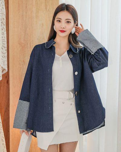 Contrast Turn Up Cuff Oversized Denim Shirt CHLO.D.MANON   #denim #jacket #shirt #stylish #koreanfashion #kstyle #kfashion #springtrend #seoul #dailylook