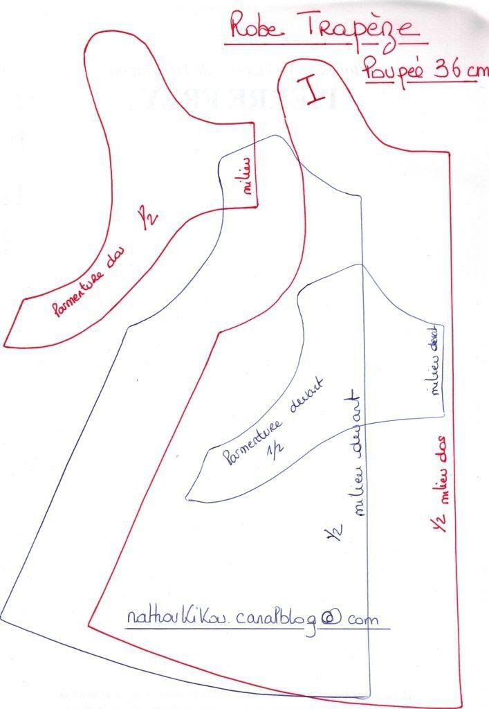 voici le patron pour la réalisation d'une robe trapèze pour poupon de 36 cm Bonne couture !!!!