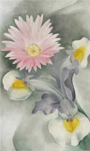 Pink Daisy with Iris - Georgia O'Keeffe