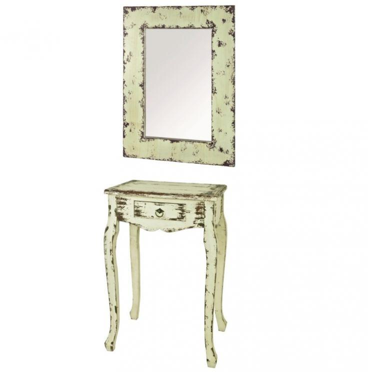 Mit diesem Telefontisch und dem Spiegel gelingt Ihnen der Vintage-Look perfekt!  Auch einzeln erhältlich. #Set #Spiegel #Konsole #Tisch #Beistelltisch #Vintage #Haku #moebl #möbel #moebelpower #moebeltraeume #spiegel #schublade