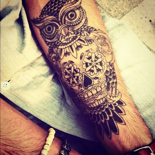 So hot, defs want this sugar skull owl tattoo