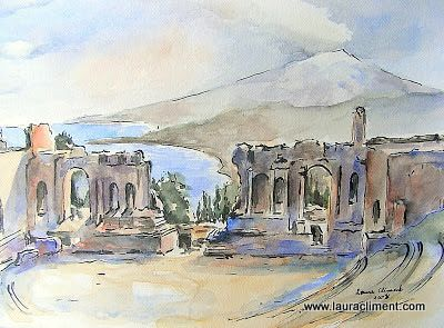 LAURA CLIMENT. Taormina. (Watercolor)