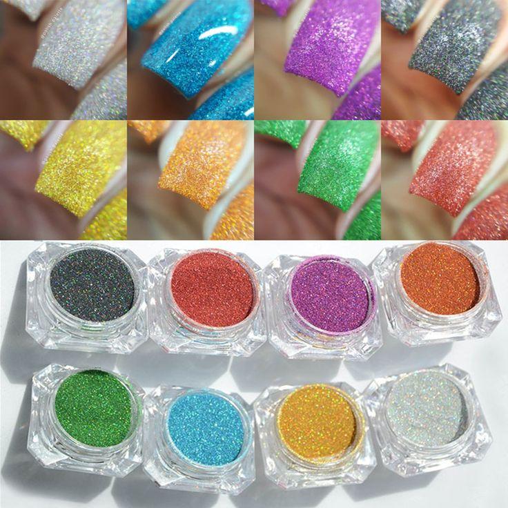 1.5g/bottle Holográfica Rainbow Color Brilhante Prego Glitters Prego A Laser Glitter Pó Manicure Cromo Pigmentos Glitter Holográfico