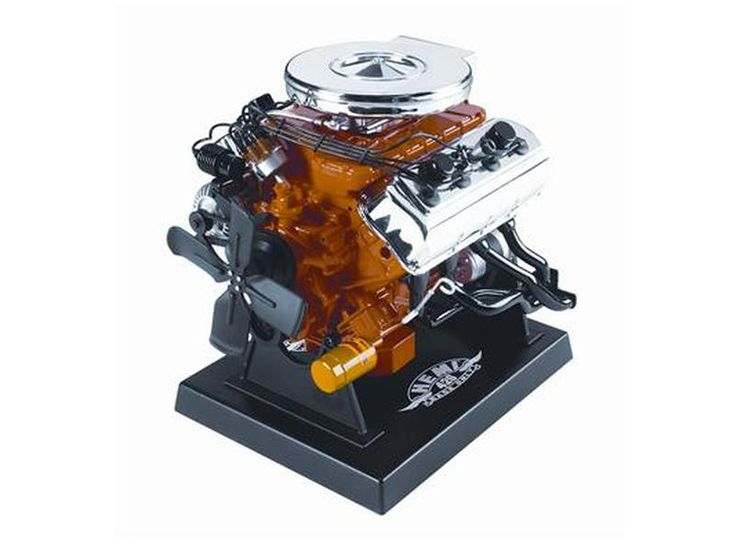 Dodge Hemi Racing 428 Engine Model 1/6 Diecast Model by Liberty Classics - Starter Motor Gear drives the Flywheel Gear which turns the Fan, the Fan Pulleys, Belts, & Alternator. Air Cleaner is removable to reveal detailed carburetor. Air Cleaner is plated with REAL CHROME. Fuel system includes fuel lines, filters and pump. Realistic intake manifold/exhaust manifold breather pipes and other misc. plumbing. Full ignition wiring.-Weight: 5. Height: 10. Width: 16. Box Weight: 5. Box Width: 16…