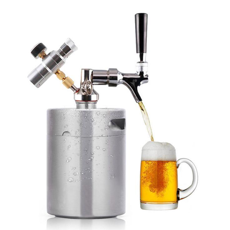 3.6L/2L Stainless Steel 304 Beer Mini Keg Homebrew Keg Mini CO2 Regulator Air Pressure Faucet Can Red Wine Brewing Bottle