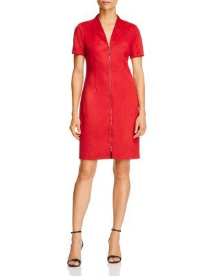 T Tahari Madeline Faux Suede Zip Front Dress | Bloomingdale's