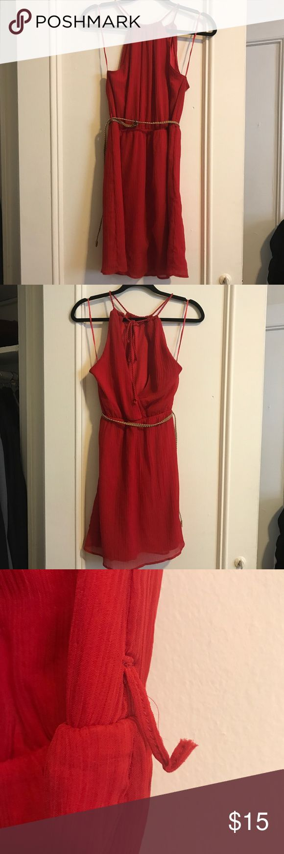 Zara red dress XS Zara red dress with thin braided belt. Front is a halter and back is a super cute v shape. Belt is included. One of the belt loops ripped but can be easily sown back on (shown in photos) Zara Dresses