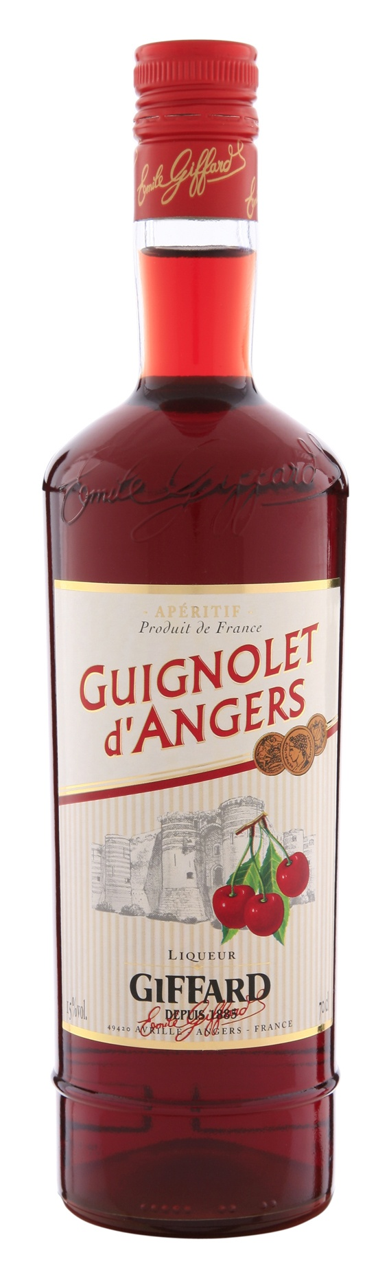 "Guignolet d'Angers: natural aperitif produced according to traditional manufacturing methods : maceration into alcohol of ""Griottes Montmorency"" cherries and darker and sweeter cherries."
