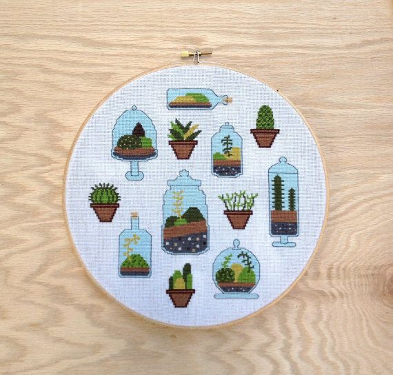 Just bought this pattern from @thestitchmill and it's awsome! :D Completely in love!  Terrarium  Modern cross stitch pattern PDF