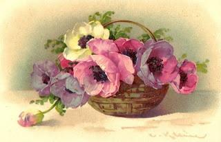 Catherine Klein ~ pastel poppies in basket