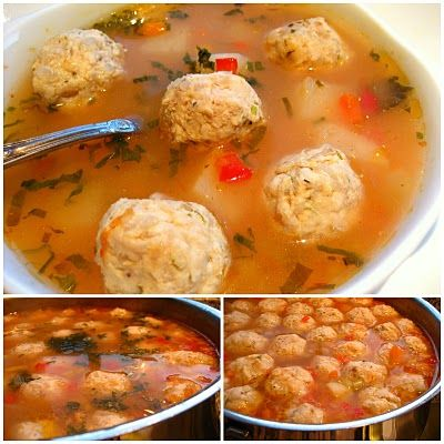 Romanian Meatball Soup...Ciorba de Perisoare --- made with ground chicken