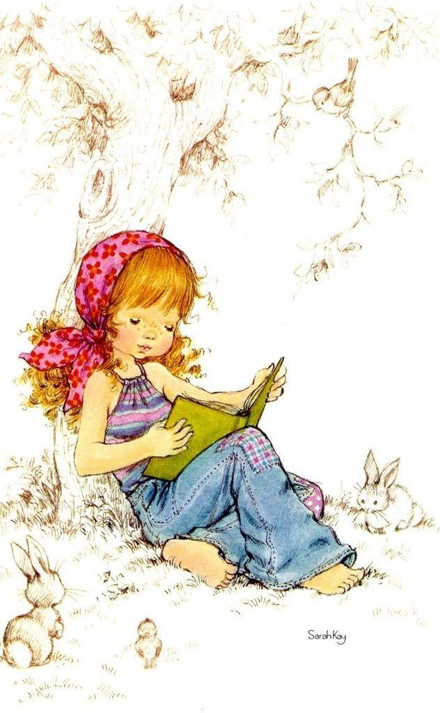 Reading by Sarah Kay - Lorsque sa fille tombe malade, Sarah Kay lui dessine des personnages d'enfants heureux, évoluant dans un univers paisible et naturel.