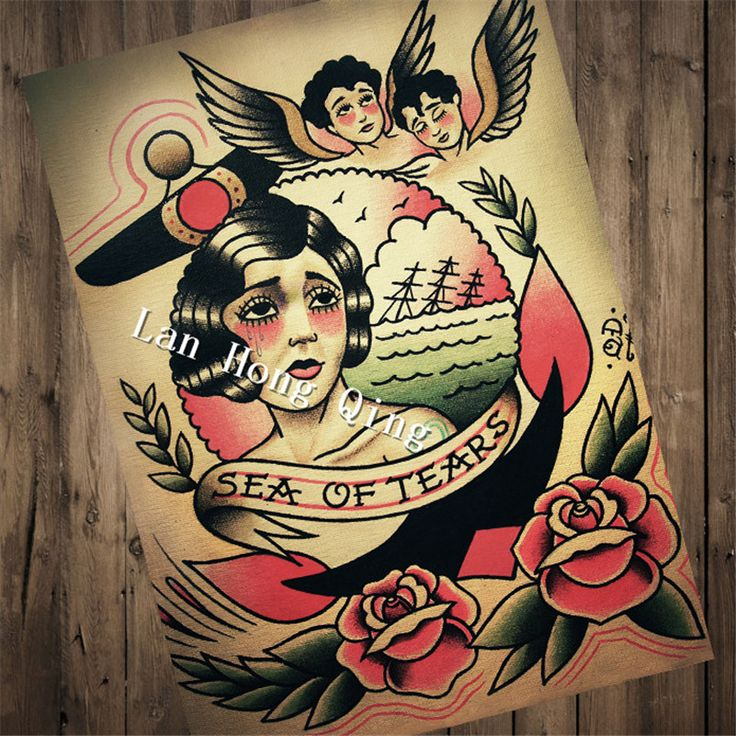 Vintage Hairdresser Tattoos design about SEA OF TEARS Patterned Posters Kraft paper wall decoration Barber shop  HM-041