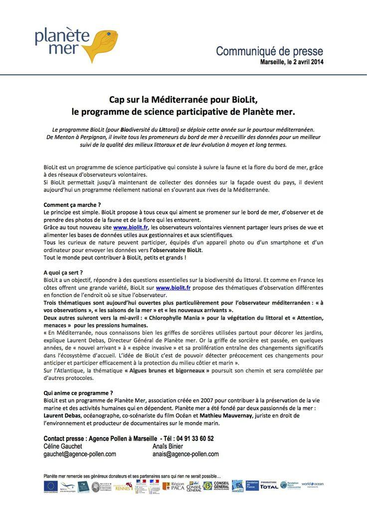 Communiqué de Presse -  Avril 2014  -  Lancement du site  www.biolit.fr