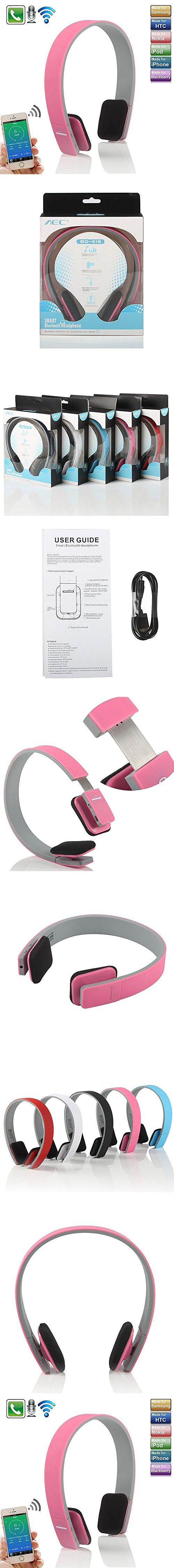 Bluetooth Headphone for ipad,elecfan New Wireless Bluetooth Headset Stereo Earphone Mic for Tablet PC and all iPhones and all ipads ipod Samsung Phones (Pink)