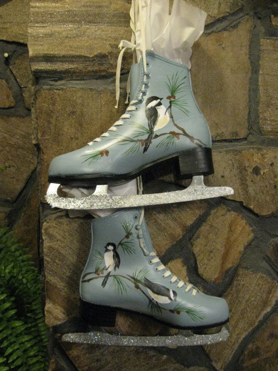 Ice Skates...up-cycled and hand-painted in acrylics and protected from the elements with a matte sealer. Chickadees and pine branches on a medium blue background adorn these size 8 leather ice skates. Hang them on the front door (if protected from inclement weather) or anywhere that winter decor is desired.