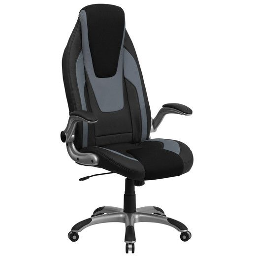 Flash Furniture High Back Black & Gray Vinyl Executive Office Chair with Black Mesh Insets and Flip Up Arms CH-CX0326H02-GG