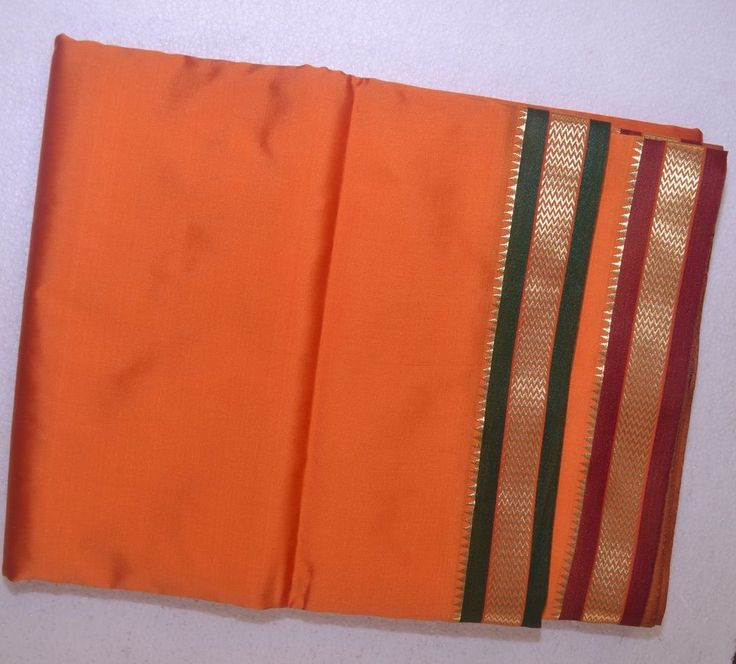 Orange Dhoti With Shawl In Pure Silk With Golden Border Dual
