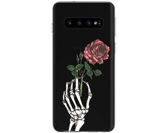 Skeleton Case Note 10 Plus Red Rose Tpu Samsung A90 Galaxy A60 Etsy In 2020 Silicone Phone Case Case Red Roses
