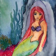 Mermaid and cave watercolour - Mermaid Series Watercolour on paper. Illustration done for a childrens book.