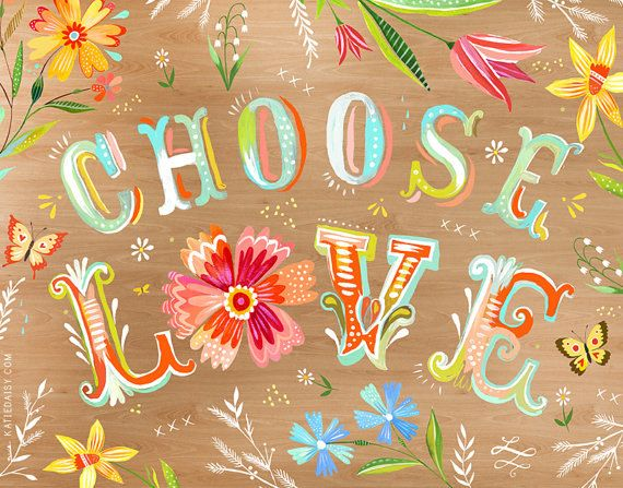 Choose Love  Woodgrain  Horizontal Print by thewheatfield on Etsy, $18.00