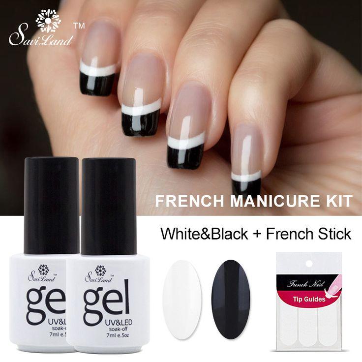 Saviland 2 adet Siyah Beyaz Fransız Manikür Seti Jel Oje 7 ml Uzun Ömürlü Kapalı Emmek UV Jel Fransız Tırnak Jel vernik