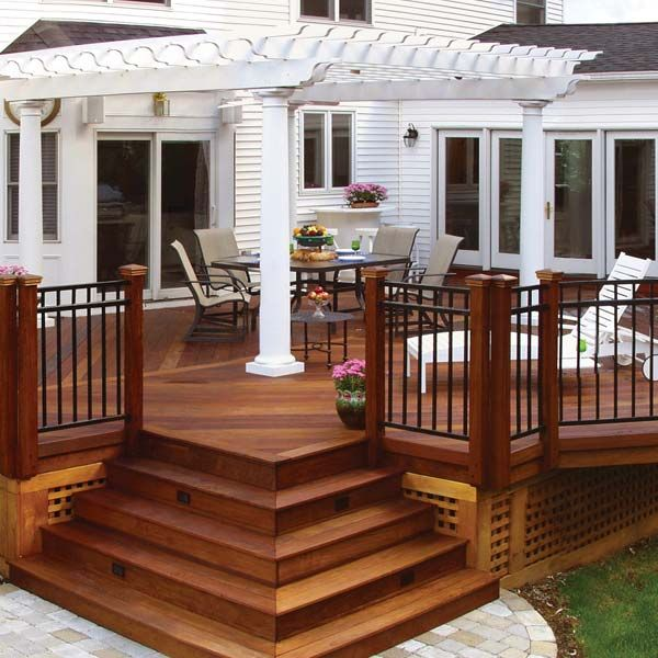185 best deck railing and porch railing design ideas for Circular garden decking