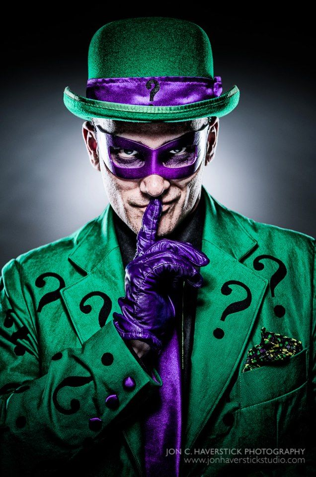 Riddler cosplay. from https://www.facebook.com/PiecedTogetherCosplay?fref=ts I like that his eye makeup is purple with the mask instead of black.